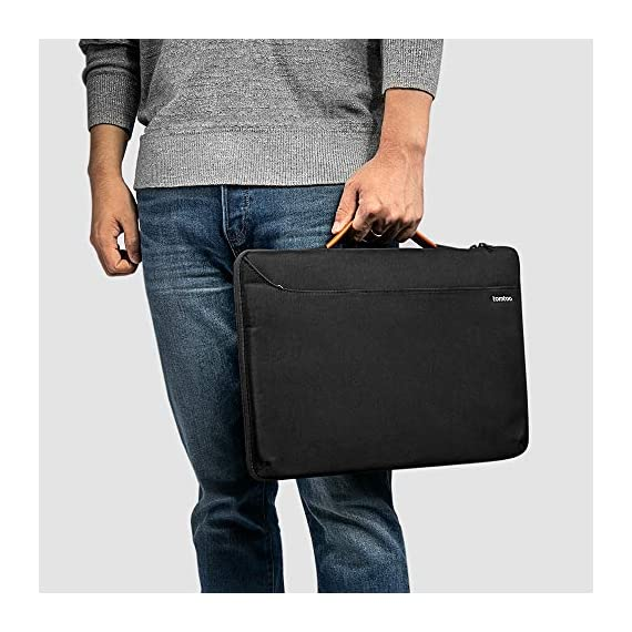 tomtoc Recycled Laptop Sleeve for 13-inch MacBook Air M1/A2337 2018-2021, MacBook Pro with USB-C M1/A2338 2016-2021, 12… 7 CornerArmor Patent Design - Protective CornerArmor patent design at the bottom of the case and 360° protective soft padding around inside protect your laptop from bumps in accident, just like the Car Airbag Stay Organized – Except the main compartment for your laptop, this case also features a second large zipper compartment for additional storage such as iPad mini, charger, power adaptors, cables, mouse and other accessories Ultra-Secure – Specially designed secure belt with Velcro inside the 180° opening main compartment protect your laptop from sudden drop. Ultra-thick protective cushioning interior ensures your laptop from bumps, dents, scratches and spills at all times