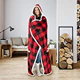 Safdie & Co. Hooded Blanket Throw Wearable Cuddle Buffalo Plaid - Red/Black, 52'x72' (65766.ECZ.11)