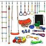Kawuneeche Ninja Warrior Obstacle Course Kit for Kids Ninja Slackline with 10 Accessories Monkey Bars, Ladder, Climbing Rope, Gym Rings, Swing, Monkey Fist for Backyard Training Equipment