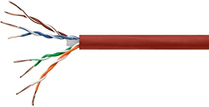 Monoprice Cat6 Ethernet Bulk Cable - Network Internet Cord - Stranded, 550Mhz, UTP, CM, Pure Bare Copper Wire, 24AWG, 250ft, Red