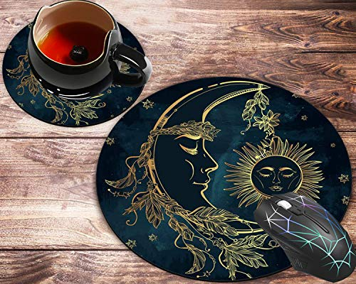 Round Mouse Pad and Coaster Set, Moon and Sun Delicate Pattern (Moon and Sun) Mousepad, Non-Slip Rubber Base Gaming Mouse Pads for Working Or Game