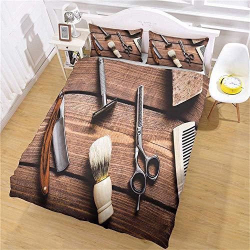 Funda nórdica de Impreso en 3D Funda Nórdica y Funda de Almohada Peine de Tijeras de peluquería Double(200X200 Cm), 3 Piece Set 1 Piece Quilt Cover + 2 Piece Matching Pillowcase