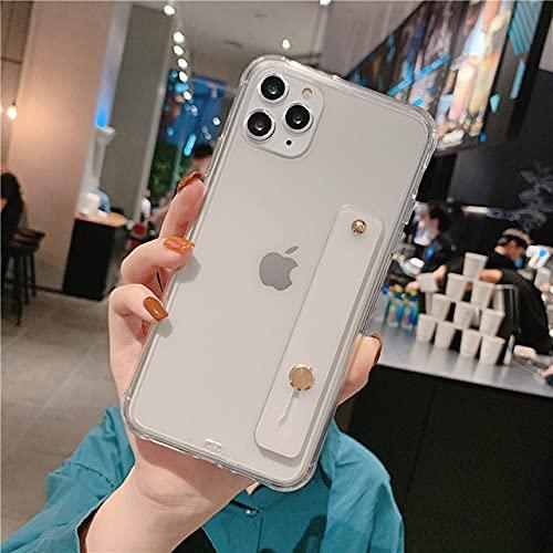 LIUYAWEI Estuche para teléfono con Correa para la muñeca para iPhone 11 Pro MAX XR XS X Funda Transparente Ultrafina con Soporte para iPhone 7 8 6 6s Plus, Transparente, para iPhone 2020 SE