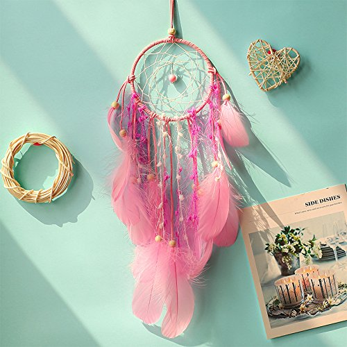 ksruee Roman rose Dreamcatcher Fashion Home Decor cadeaux d'anniversaire perles pendentif blanc plume bijoux