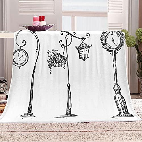 Reloj Manta para Sofa 3D farola Reversible Manta Estampata Cálida y Suave Manta de Oficina Mantas sólida para Cama sofá 180x200cm