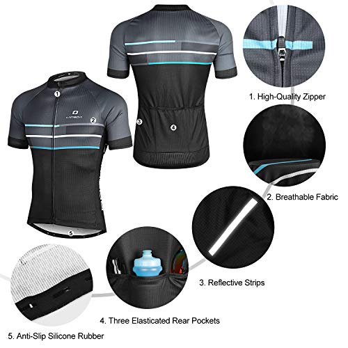 LAMEDA Kurzarm Radtrikot Fahrradtrikot Herren T-Shirt Jersey Radsport Funktionsshirt Elastische Atmungsaktive Schnell Trocknen Stoff(Blau S) - 4