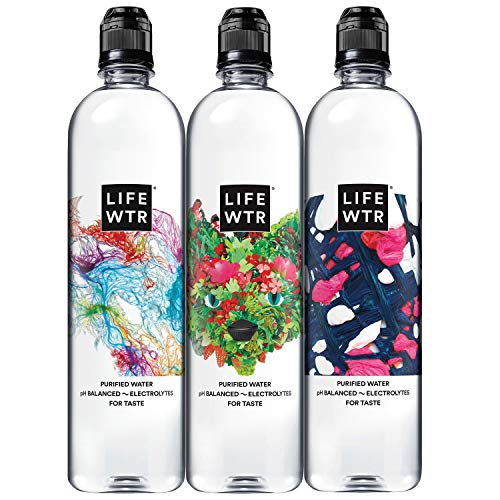 LIFEWTR Premium Purified Water, pH Balanced with Electrolytes For Taste, 23.7 Fl Oz Flip Cap Bottles, 700 mL (12 Count)