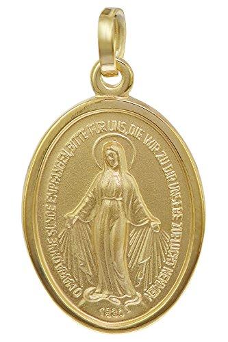 trendor Madonna Milagrosa Anhänger Gold 585 zauberhafter Echtgold Anhänger für Damen und Herren, Abbild der Mutter Jesu, Goldschmuck, Madonna, 08611