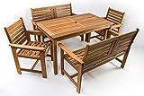 Salottino in legno da terrazzo, con 2 sedie e 2 panche (6 posti) - Alta Qualità