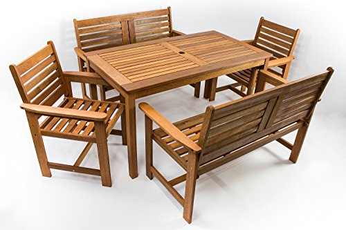 tavolo da giardino teak AVANTI TRENDSTORE - Furni - Set da Giardino a 5 Pezzi in Legno Tropicale