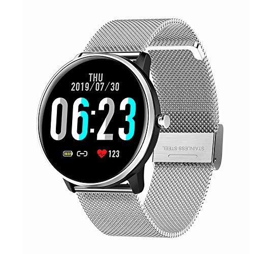 SNOWINSPRING MX6 Smart Watch Herren Damen 1,3 Zoll Presse Herz Frequenz Messer Wetter IP68 Sport Uhr für IOS Android Silber