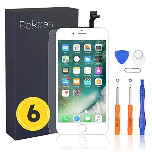 bokman Display Reparaturset kompatibel mit Weiß iPhone 6 (inkl. Glas, Retina LCD, Touchscreen), Passendes Profi-Werkzeugset enthalten