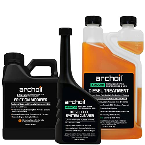 Archoil Ultimate Diesel Kit - AR9100 Friction Modifier (16oz) + AR6500 Diesel Treatment (33oz) + AR6400-D Diesel Fuel System Cleaner (12oz)