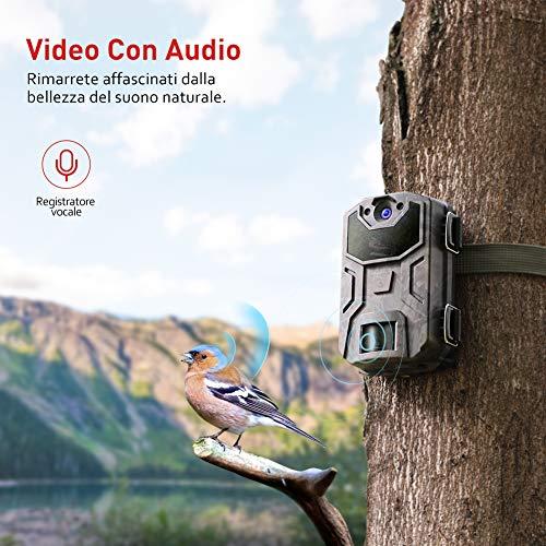 Victure Fotocamera Caccia 20MP 1080P Fototrappola Infrarossi Invisibili Movimento Attivato 0.3S a Scatto Modalita' Notturna con 2.4 Pollici Schermo LCD Impermeabile IP66 Camera per la Caccia