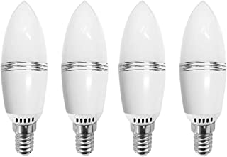 JKLcom 12W LED Candelabra Light Bulbs 12W LED Candle Bulbs E14 Non-Dimmable LED Chandelier Bulbs,100W Incandescent Bulbs Equivalent,Daylight White 6000K,E14 Small Base,Non-Dimmable,Pack of 4