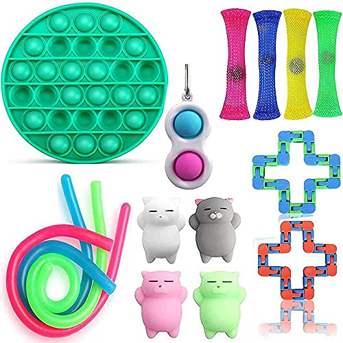 VANREYIN 25 Combinations Fidget Toy,Autism Special Needs Stress Reliever Silicone Stress Reliever Toy,Squeeze Toy (Purple Blue)…… (Green)