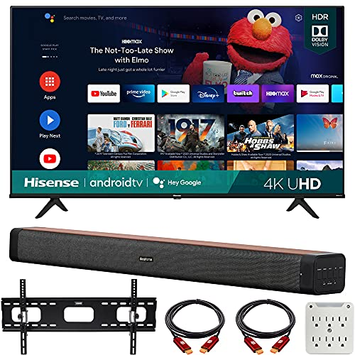 Hisense 65A6G 65 Inch A6G Series 4K UHD Smart Android TV with Dolby Vision HDR 2021 Bundle with Deco Home 60W 2.0 Channel Soundbar, 37'-100' TV Wall Mount Bracket Bundle and 6-Outlet Surge Adapter