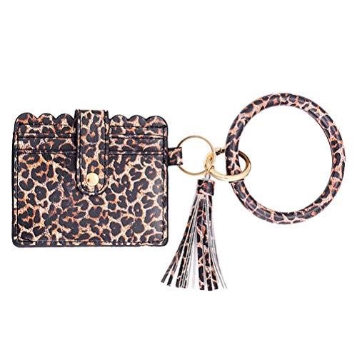 Armband Schlüsselbund Armband, PU Leder Quaste Armreif Schlüsselbund Kartenhalter Kartenhalter Kartentasche Schlüsselring für Frauen Mädchen/Damen Armband