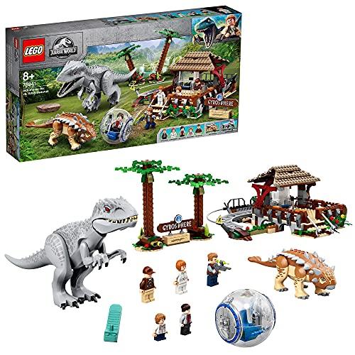 LEGO Jurassic World Indominus Rex Contro Ankylosaurus, Set Dinosauri Giocattolo da Costruire con Girosfera, per Bambini di 8+ Anni, 75941