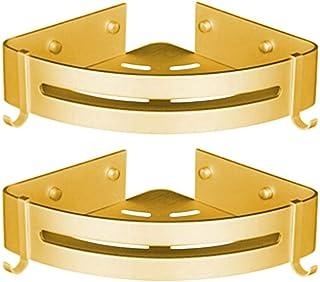 Krystallove - 2 estanterías de pared de aluminio para baño, cocina o baño, dorado, 2 unidades