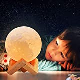 Moon Lamp, 3 Colors 3D Led Moon Night Light Lamps, USB Rechargeable & Touch Control Dimmable Moon Lamp with Stand, Creative Moon Light Room Decor for Kids Women Lover Birthday Gifts (3.9 inch)