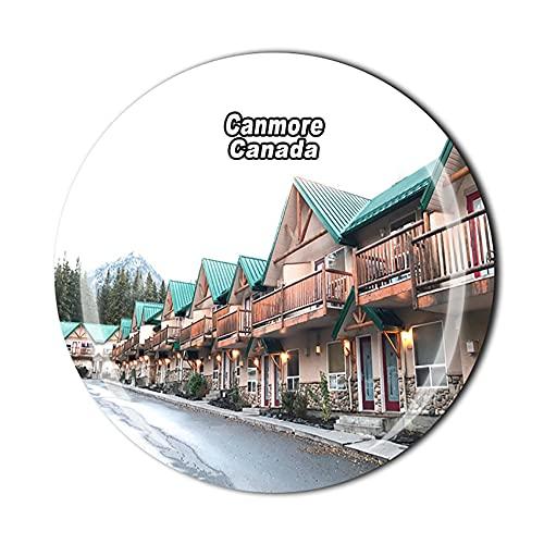 Canadá 3D Canmore - Imán para nevera con cristal de recuerdo de cristal para viajes, colección de recuerdos, decoración para el hogar y la cocina