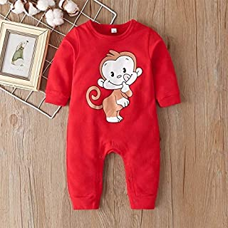Baby Infant Romper Pyjama Winter Toddler Cartoon Red Monkey Outfit Jumpsuit Clothe set Long Sleeve Soft Dress Sleepsuit On...