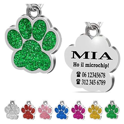 Iberiagifts - Zampa in Acciaio Targhetta Medaglietta identificativa Personalizzata per Collare Cane Gatto Animale Domestico con incisione (Verde)
