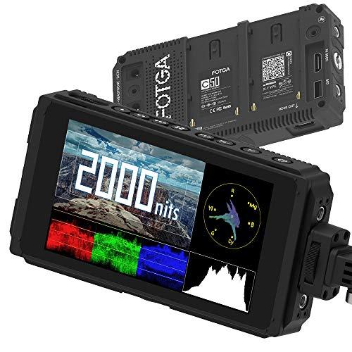 Fotga C50 5 Zoll Kamera Feldmonitor,Ultra Bright 2000nit HD IPS Touchscreen Camera Field Monitor mit 3G SDI,3D-LUT,Wellenform,4K HDMI Kabel,Zwei Akkufächer für Canon Nikon Panasonic Sony Kamera