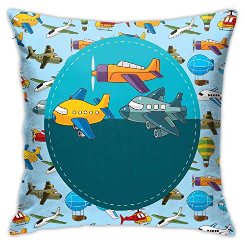 FULIYA Throw Pillow Covers 18 x 18 inch,Colorful Retro Style Various Cartoon Airplanes Air Balloons Zeppelins Boys Kids,Pillowcases for Patio Couch Room Home Deocr