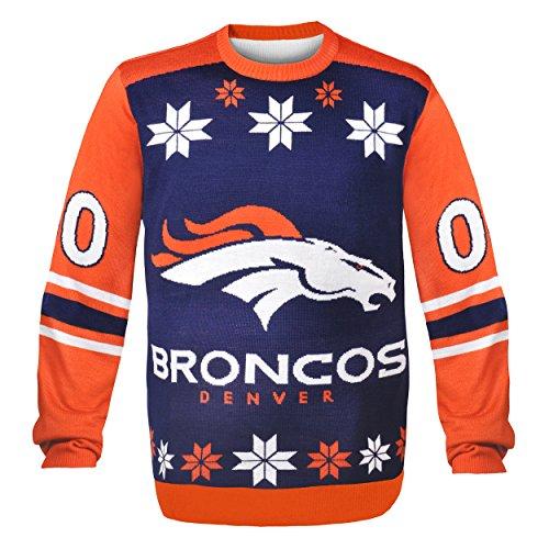 NFL丹佛野马队运动衫丑毛衣,大号