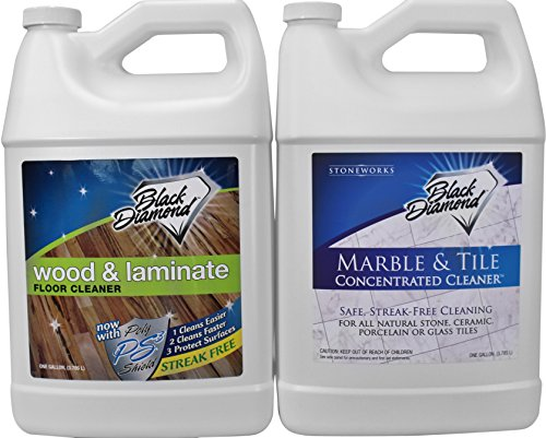 Black Diamond Wood & Laminate Floor Cleaner for Hardwood, Real, Natural & Engineered Flooring Biodegradable Safe for Cleaning All Floors. AND Black Diamond Marble & Tile Floor Cleaner (1, 2-Gallons)
