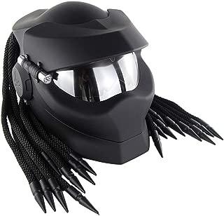 Patoukui Black Cool Predator Motorcycle Helmet,Personality Alien Warrior Decorative Lamp Front Flap Full Face Helmet,DOT ECE Certified Helmet, Four Seasons Unisex,M