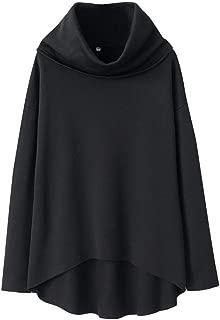 Winter Turtleneck Scarf Pullover Women Solid Color Cotton Blend Warm Tops Casual Irregular Sweatshirt
