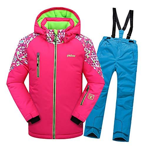 LSHEL Jungen und Mädchen Skianzug Skihose + Skijacke Snowboardhose Snowboardjacke Schneehose, Rosa Top + Blaue Hose, 158/164
