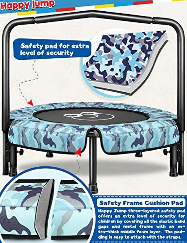 Kids Trampoline Mini Trampoline Indoor Outdoor with Handle Bar 36' (Blue Camo)