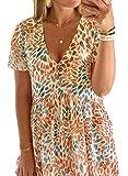 SLYZ Vestido con Cuello De Pico De Mujer con Estampado De Flores Tie-Dye De Verano