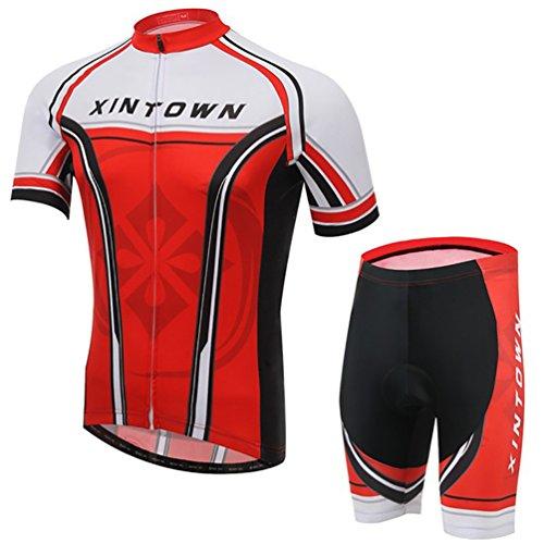 Baymate Homme Maillot Velo T-Shirt Manches Courtes + Pantalons de Cyclisme Respirant Vêtements de Cyclisme