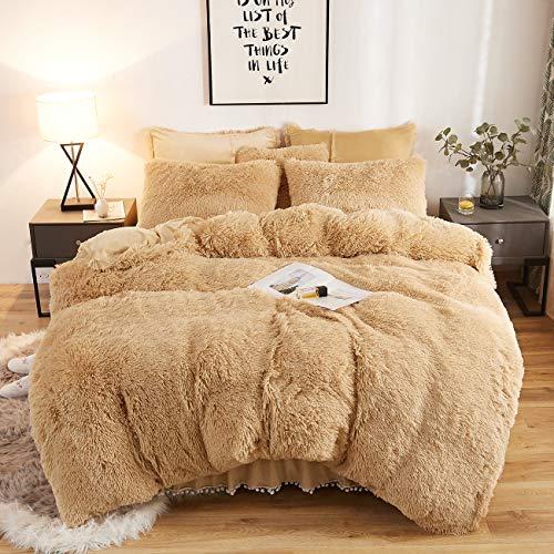CRESTED Plush Shaggy Duvet Cover Set Luxury Ultra Soft Crystal Velvet Bedding Sets 3 Pieces(1 Faux Fur Duvet Cover + 2 Faux Fur Pillowcase),Double Zipper Closure (King, Camel)