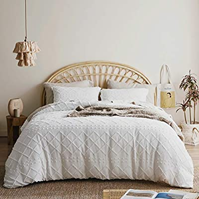 Bedsure Tufted Duvet Cover Set Full/Queen Size, 3 Pieces Embroidery Shabby Chic Comforter Cover Set, Soft and Durable Bedding Set for All Seasons, White by Bedsure Collections
