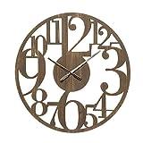 Reloj Tallado rústico marrón de Madera MDF de 60 cm - LOLAhome