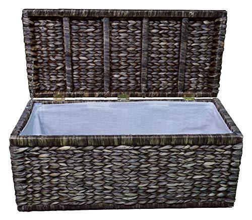 Artra Design gevlochten kist met klapdeksel, 80 cm, bruin ademend, opbergdoos met deksel, opbergkist, opbergkist, wasmand