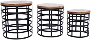The Urban Port 69200 Round Top Nesting Coffee Tables, Set Of 3, Black And Brown