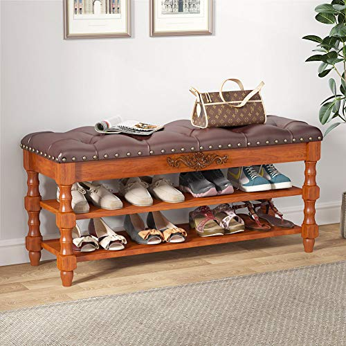 Tribesigns Shoe Bench Entryway, Solid Wood Storage Foyer Bench...