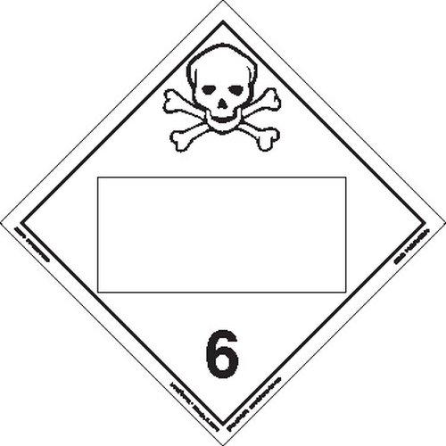 Labelmaster free ZEZ5B Toxic Hazmat Placard Blank Max 88% OFF E-Z Vin Removable