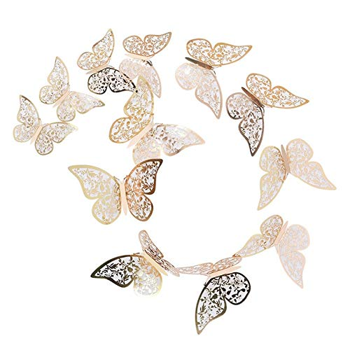 Wall Stickers 3D Hollow Butterfly Paper 3 Sizes Silver Gold Stickers Fridge Stickers Home Party Wedding DIY Decor 12 Pcs/Set 12/10/8cm B12