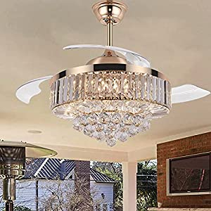 TiptonLight Modern Crystal Ceiling Fan with Lights, 42 Inch Remote Control Chandelier Fan with Retractable Blades for Living Room Bedroom Dining Room