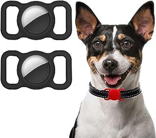 Ztowoto Siliconen hoesje compatibel met Airtag Pet Collar, Airtag beschermhoes voor hond kat halsband 2 stuks (2-zwart)