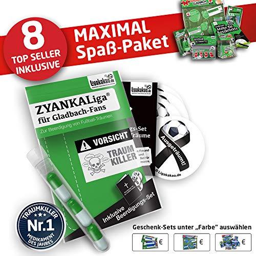 Alles für Gladbach-Fans by Ligakakao.de Gladbach Handtuch ist jetzt das MAXIMAL SPAß Paket duschtuch Emblem Logo Soft one Size Baumwolle weich saugstark schwarz-grün