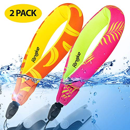 Ringke Floating Strap [2 Pack] Universal Impermeable Correa para la Muñeca: Cámara Digital, Teléfonos Celulares, iPhone 11, Galaxy S20, Redmi Note 8 y Más - Palm Leaves + Banana